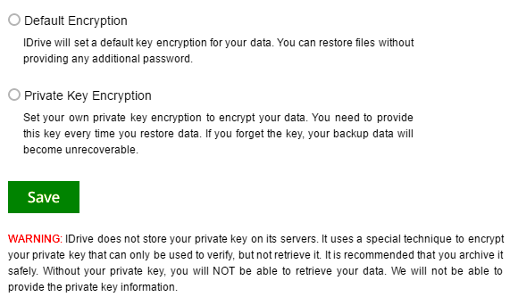 IDrive encryption options