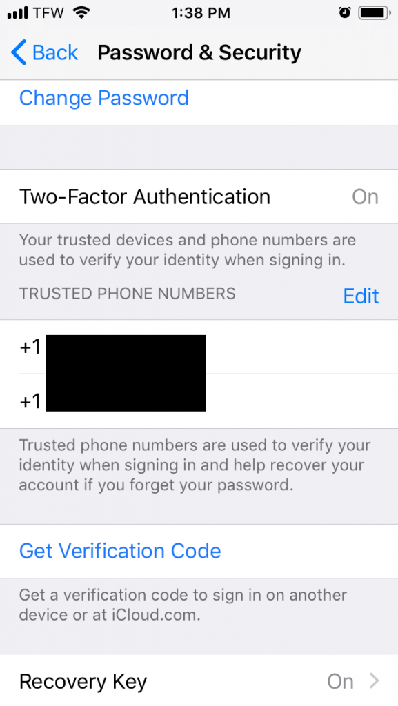 iOS Settings Password & Security