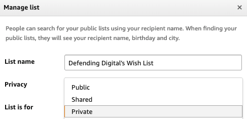 Amazon manage list privacy