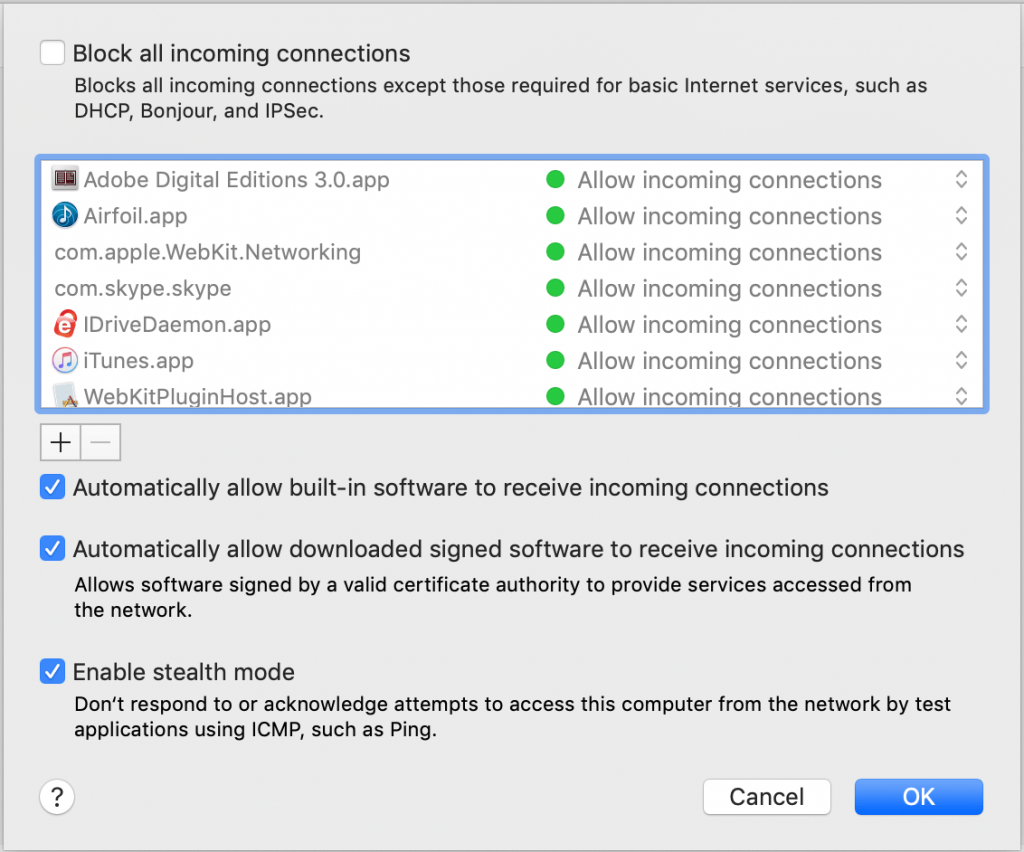 macOS Settings Security & Privacy Firewall Options