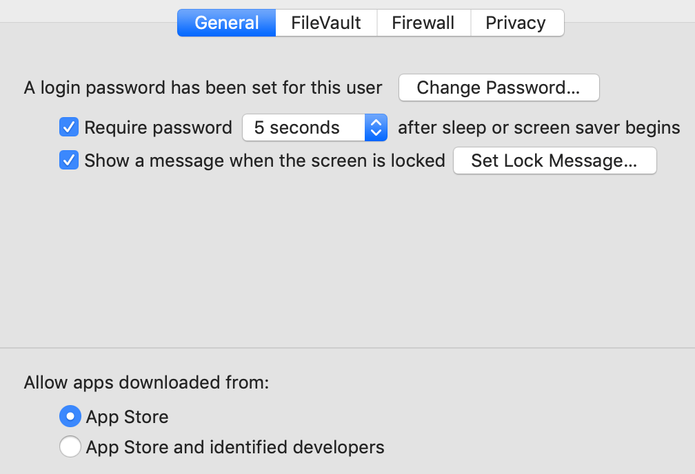 macOS Settings Security & Privacy General