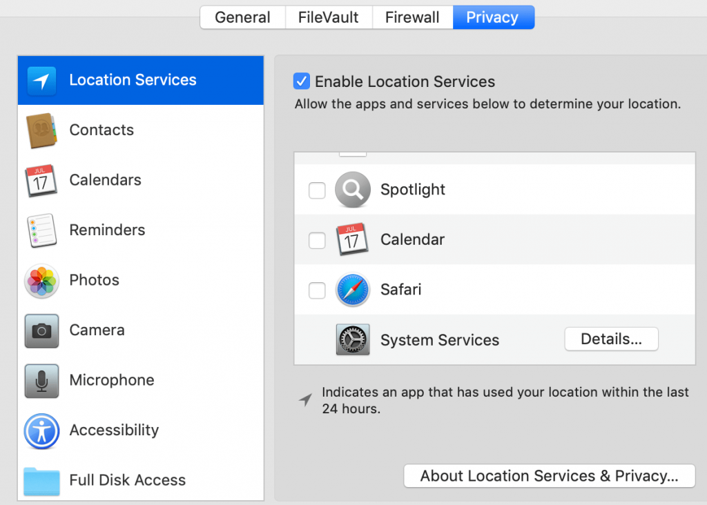 macOS Settings Security & Privacy Location Services