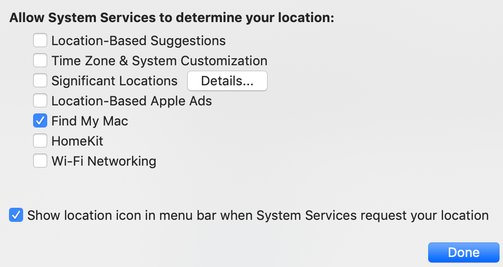 macOS Settings Security & Privacy Location Services System Services