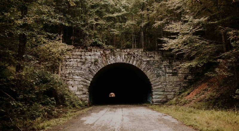 road tunnel through woods