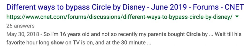 """Google result """"Different ways to bypass Circle by Disney"""""""