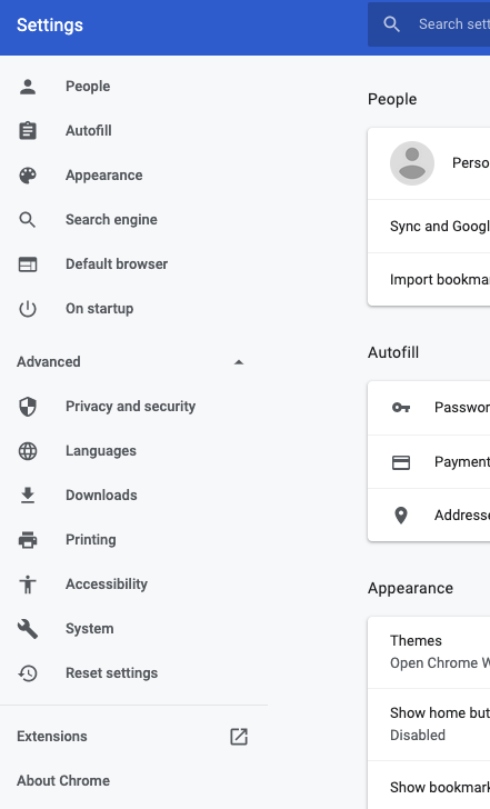 Chrome Settings menu