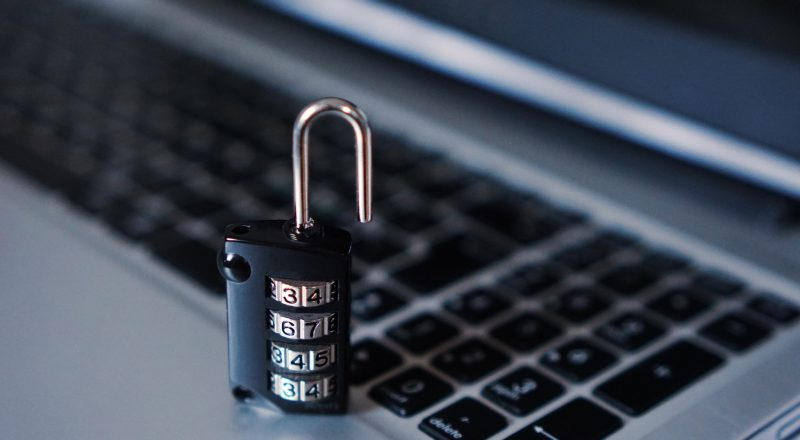combination padlock on laptop