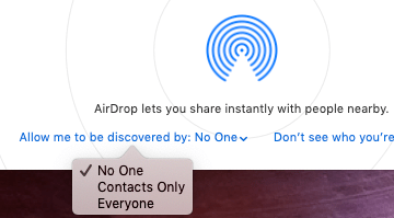 macOS AirDrop Allow me to be discovered by