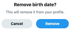 Twitter Remove birth date