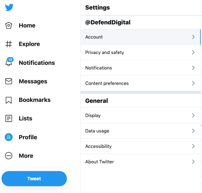 Twitter Settings menu