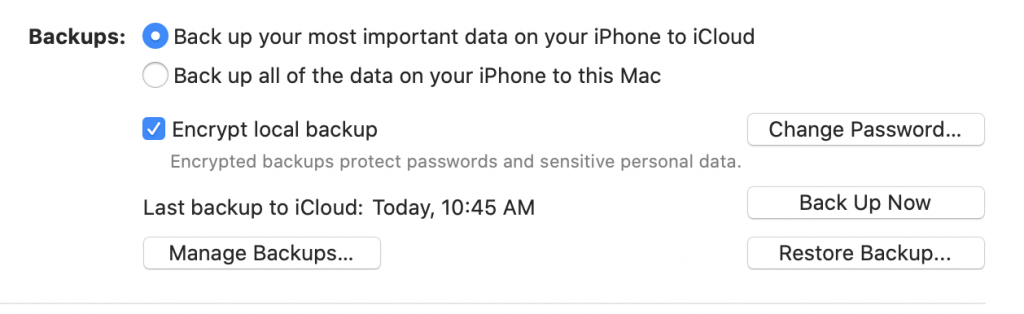 Encrypt local backup iPhone to Mac