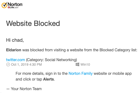 Norton Family Website Blocked email