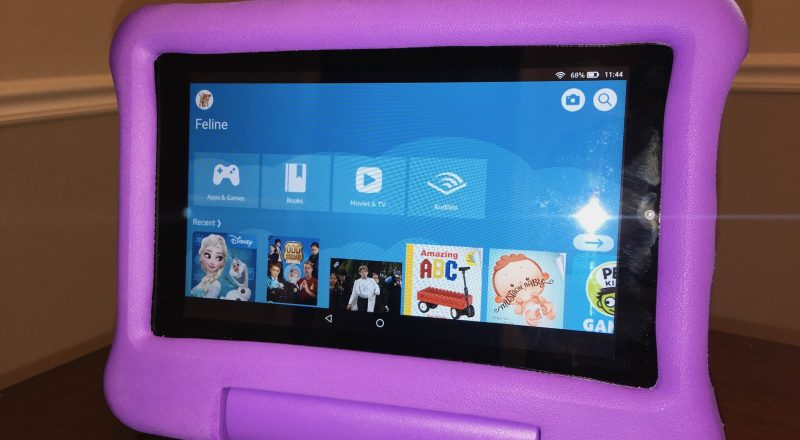 Amazon Fire Kids Edition tablet standing