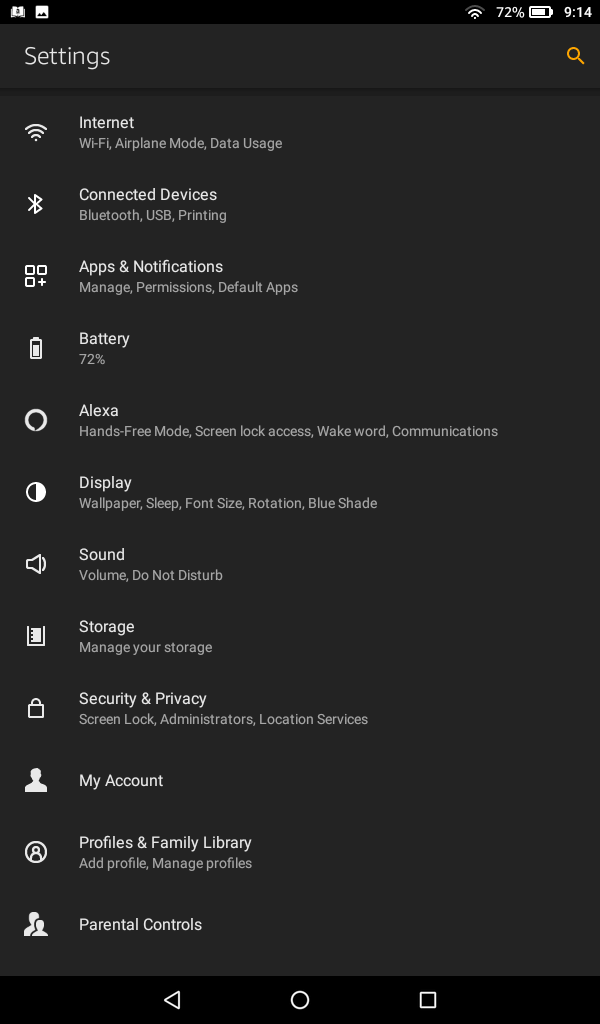 Amazon Fire Settings