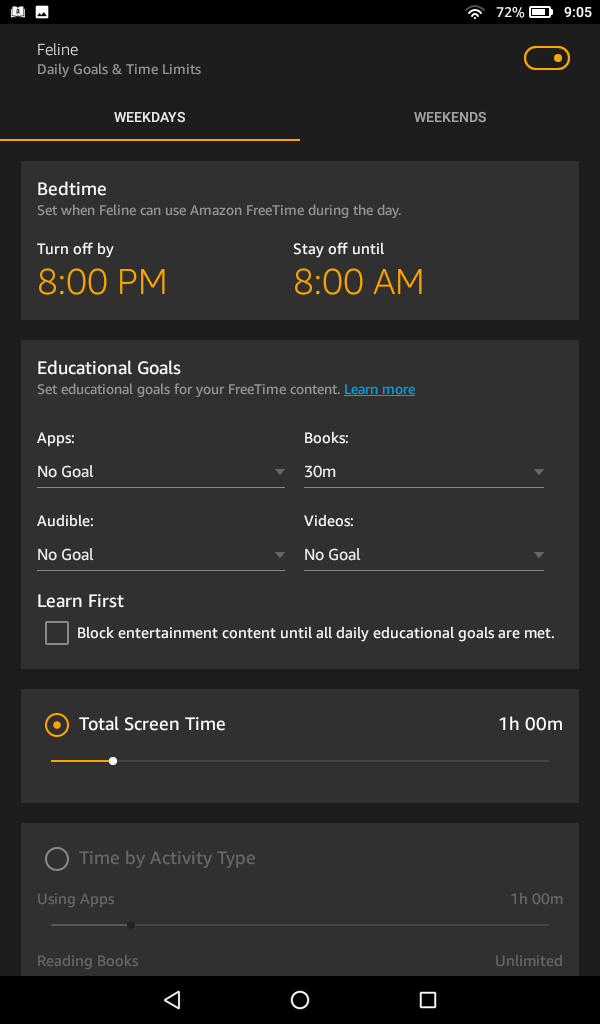 Amazon FreeTime Daily Goals Time Limits