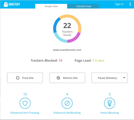 Ghostery Simple View