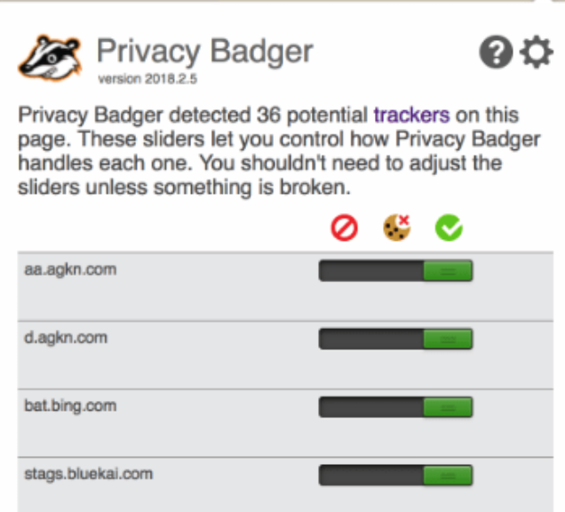 Privacy Badger extension interface