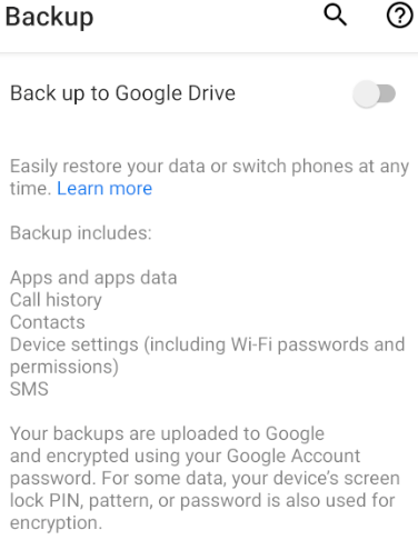 Android Back up to Google Drive